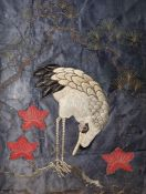 Oriental embroidery Heron embroidered on blue silk ground, raised, with a glass(?) eye, leaves and