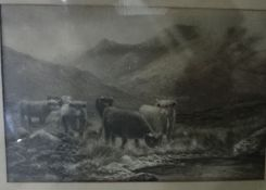 After Douglas Cameron Black and white print Highland cattle and one other(2)