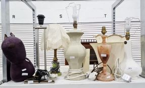 Five various table lampsincluding a white ceramic labelled 'Casa Pupa', a metal and faux-onyx, a