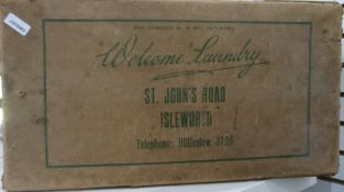 Vintage cardboard laundry box printed from Isleworth (af)