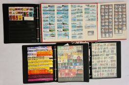 Box and contents of assorted matchbox labels in stock albums