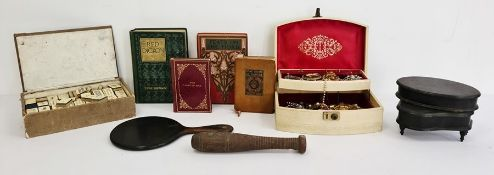Box of assorted items to include Mahjong set, box of costume jewellery, ebonised boxes, small