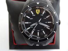 Gent's Ferrari Scuderia wristwatch with black dial and black rubber strap, in presentation box
