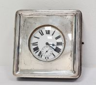 Open-faced pocket watch with Roman numerals, subsidiary seconds dial, housed in a silver fronted