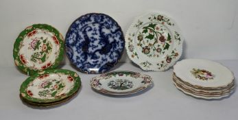 19th century Copeland plate decorated with flowers and a collection of various other 19th century