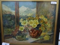 Unattributed Oil on board Anenomes in vases on a windowsill, looking through to snowy mountains in