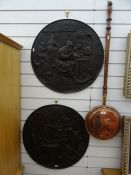 Wall plaques of bronze effect relief,  depicting 18th century gentlemen playing musical