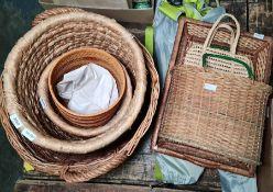 Large wicker log basket, other wicker baskets etc