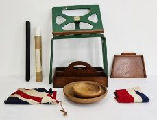 Small collection of treen items to include bowl, plates, Union flag,  Bershaw painted wood book rest