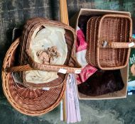 Quantity of damask tray and table cloths, baskets, musquash fur coat and sundry items and wicker