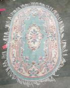 Chinese superwash oval rug, 150cm x 92cm
