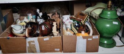 Large quantity of assorted ceramics including cottageware, a ceramic carthorsein full tack,
