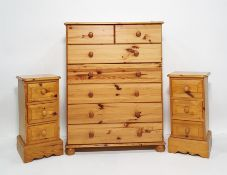 20th century pine chestof two short over four long drawers and a chest of three drawers (2)