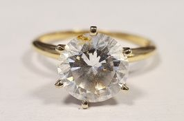 14ct gold and white stone solitaire dress ring
