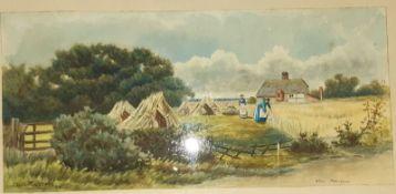 C Masters Pair watercolour drawings Rural scenes, women harvesting sheaves of corn and a woman