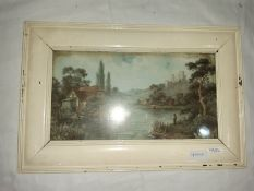 Unattributed Pair watercolour drawings River scene, man fishing with a castle ruin in background (