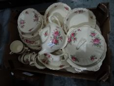 J&G Meakin pottery part tea and dinner service 'Sunshine' pattern decorated with a cream ground