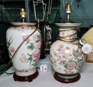 Two ceramic table lamps both Chinese style