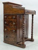 19th century walnut davenport desk, 58.5cm x 90cm