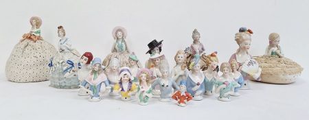 Variety of pincushion heads and various figures, some with pincushions (2 boxes)