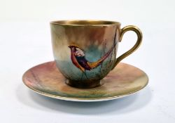 Royal Worcester demi tasse and saucer, printed puce marks, printed date code for 1929, painted by R.