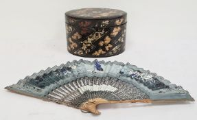 19th century oval lacquered ware and decorated box and a hand-painted fan