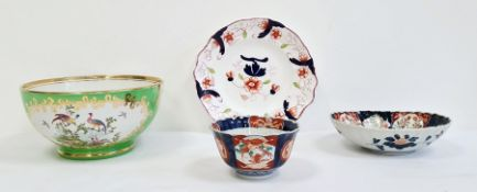Japanese Imari porcelain oval fluted dish, a similar bowl,a Victorian china plate decorated in
