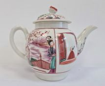 A Worcester teapot and cover, circa 1770, decorated in iron-red, puce, black and green with