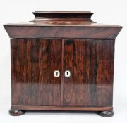 19th century rosewood workbox, the pagoda hinged top opening to reveal compartmented tray