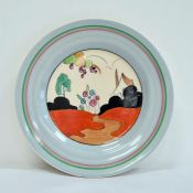 Hand-painted 'Bizarre' pattern plate, Tulips pattern, by Clarice Cliff, 23cm Condition ReportIn good
