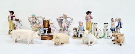 Belleek porcelain model pig, seated, 10cm wide, a Beswick modelpig inscribed 'C H Warboy '53',