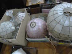 Quantity of 1920's-style lampsand assorted glassware(4 boxes)