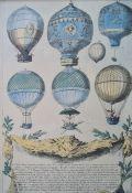 Set of eight coloured balloon prints, 29cm x 20cm (8)
