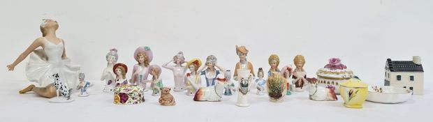 Collection of continental porcelain crinoline ladies and half-figures, pierced for mounting,a