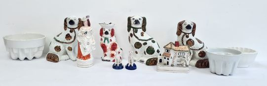 Collection of 19th century Staffordshire pottery to include a pair of Staffordshire spaniels, a pair