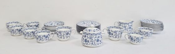 Minton china part tea service 'Shalimar' pattern in underglaze blue, approx 30 pieces