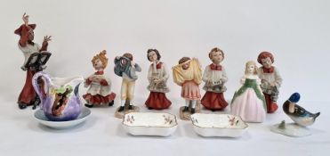 Capodimonte tinted bisque figure of a choirmaster with four choirboys, a Doulton china figure '