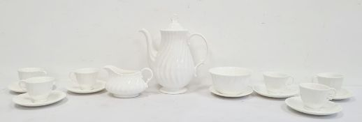 A Royal Doulton 'Cascade' pattern part coffee set, comprising six cups, numbered H5073 to base