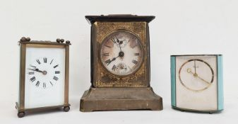 19th century brass four glass carriage clockwith enamel dial and Roman numerals,another smaller