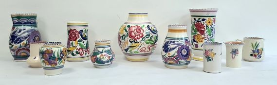Collection of Poole pottery to include ovoid vase, trumpet-shaped vase, smaller vases and other