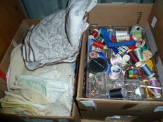 Various table linens, sewing accessories, a footstool, etc (2 boxes)