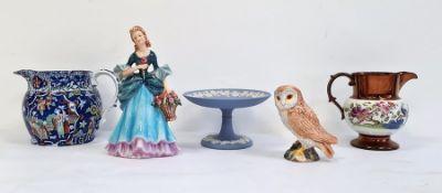 19th century pearlware-style jug,a Beswick pottery owl, a Goebel figurine, a jugand a Wedgwood