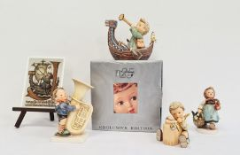 Collection of Goebel ceramics, comprising a rectangular postcard plaque on easel and four Hummel fig