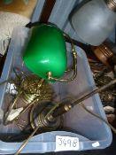 Vintage-style desk lampand an Edwardian-style glass and brass desk lamp(2)