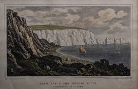 """G Brannon Coloured engravings """"Watcombe Bay"""", """"Alum Bay and The Needles Rocks"""" and """"Isle of"""