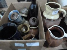 Various earthenware jugs, studio pottery, etc (1 box and 1 oversized jug)