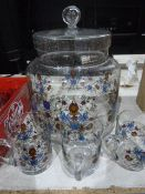 Assorted glasswareincluding a speckled glass bubble glass and decorated biscuit barrel, a bubble