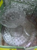 18 piece porcelain tea service, boxed, various vintage biscuit and sweet tins, moulded glassware,