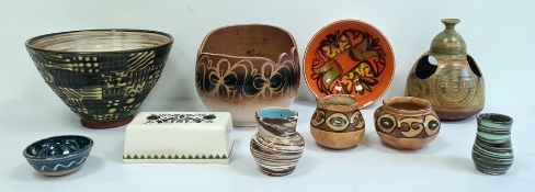 20th century studio pottery bowl, slipware decorated, a Poole pottery bowl, a Cricklade pottery blue