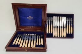 Mappin Brothers solid silver blades and bone-handled fruit knives and forks for 12, in mahogany